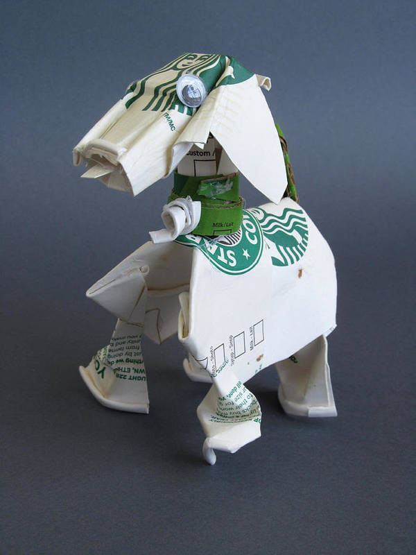 Starbucks Poster featuring the sculpture Starbucks Dog by Alfred Ng