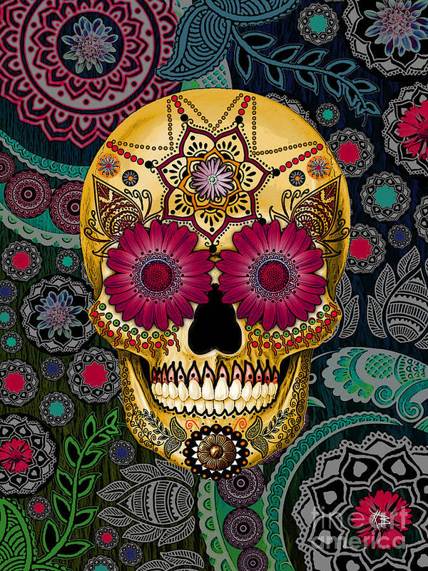 Sugar Skulls Poster featuring the mixed media Sugar Skull Paisley Garden - Copyrighted by Christopher Beikmann