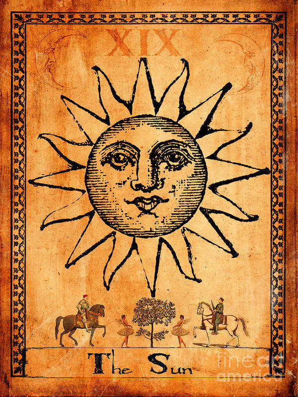 Sun Poster featuring the painting Tarot Card The Sun by Cinema Photography