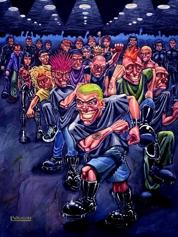 Acrylic Poster featuring the painting The Mosh Pit by Lance Vaughn