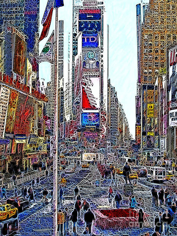 Time Square Poster featuring the photograph Time Square New York 20130503v6 by Wingsdomain Art and Photography