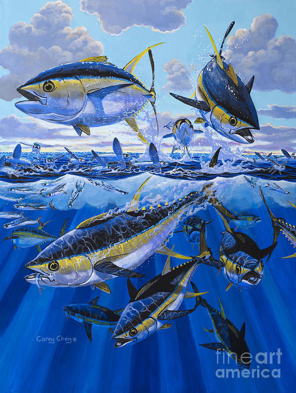 Tuna Poster featuring the painting Tuna Rampage Off0018 by Carey Chen