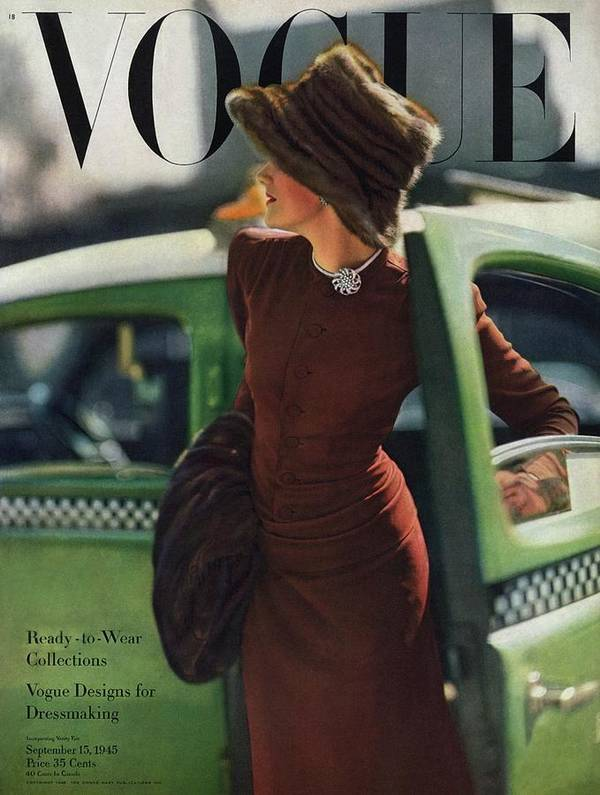 Auto Poster featuring the photograph Vogue Cover Featuring A Woman Getting by Constantin Joffe