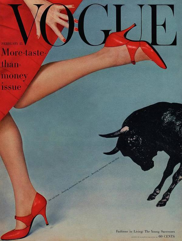 Fashion Poster featuring the photograph Vogue Magazine Cover Featuring A Woman Running by Richard Rutledge