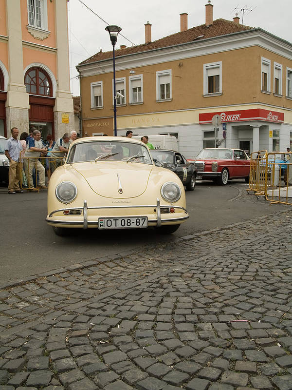 Old Poster featuring the photograph The Old Porshe by Odon Czintos