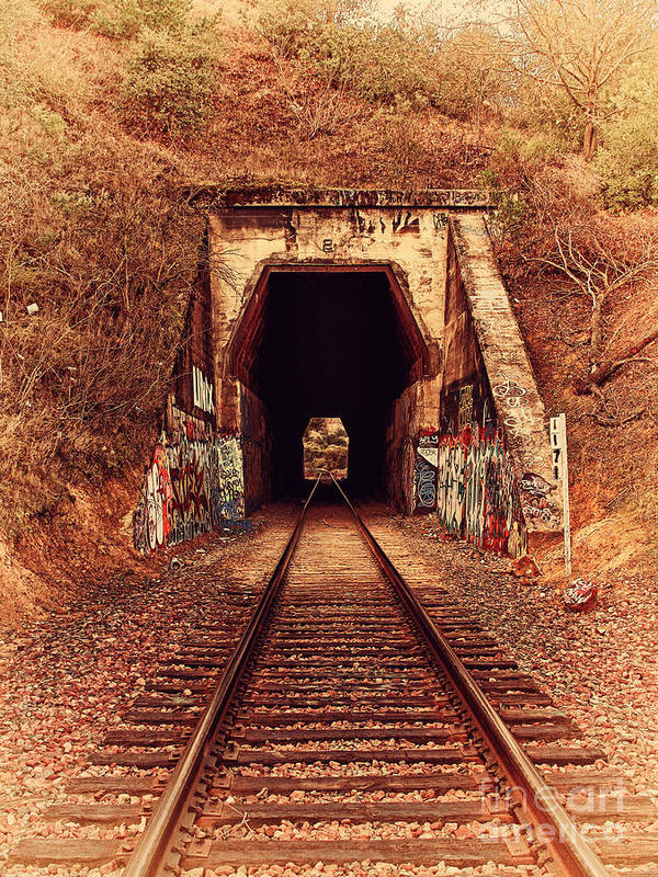 Retro Poster featuring the photograph Train Tunnel At The Muir Trestle In Martinez California . 7d10220 by Wingsdomain Art and Photography