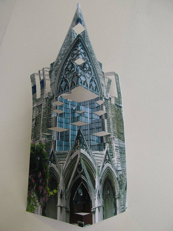 Paper Poster featuring the sculpture Architecture Reconstruction by Alfred Ng