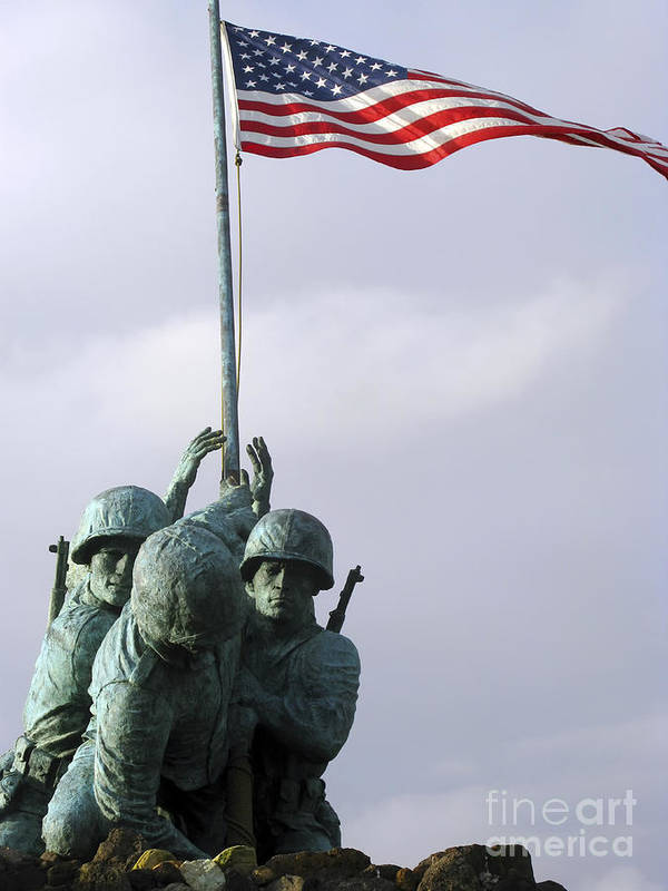 Military Poster featuring the photograph A Close Up Of The Iwo Jima Bronze by Michael Wood