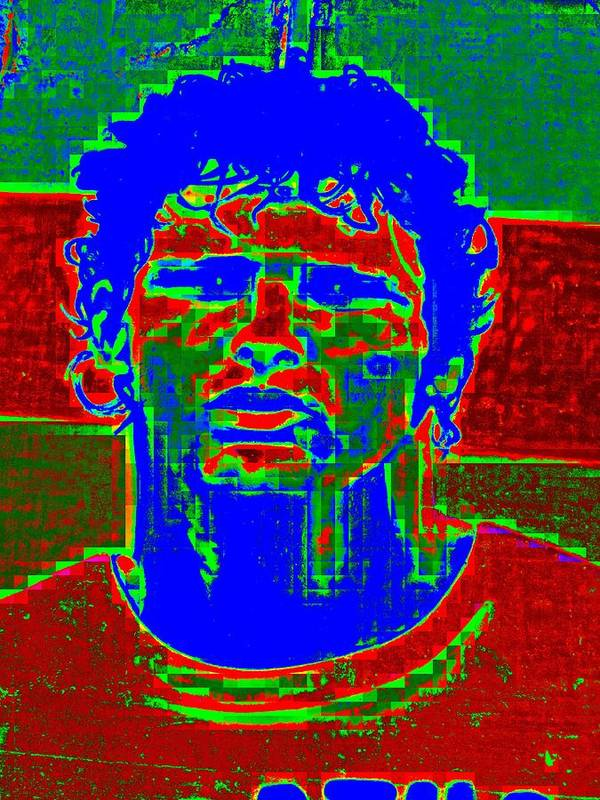 Pixel Poster featuring the digital art Athlete by Randall Weidner