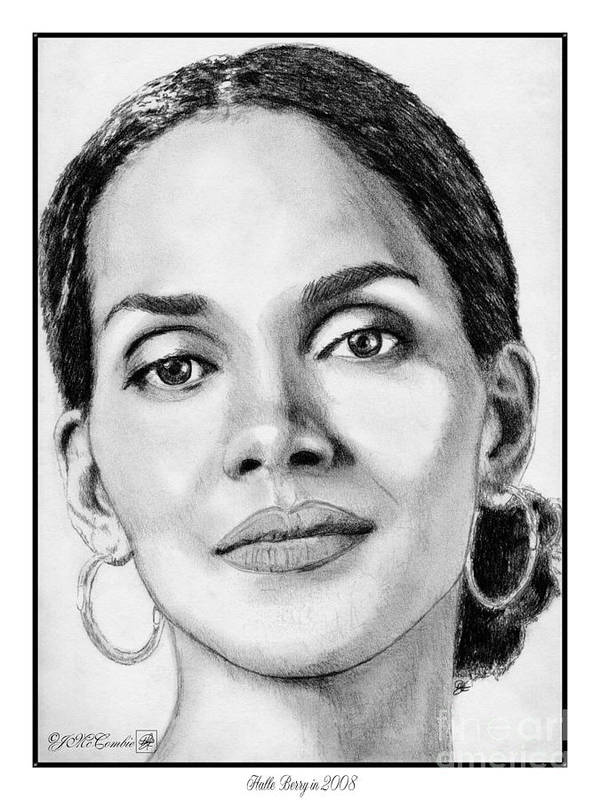 Halle Berry Poster featuring the drawing Halle Berry In 2008 by J McCombie