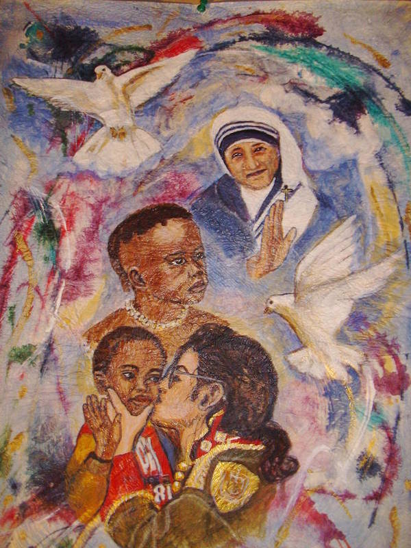 Mother Theresa Poster featuring the sculpture Mother Theresa And Michael Jackson For The Lost Children by Jocelyne Beatrice Ruchonnet