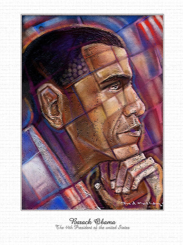 Obama Poster featuring the digital art Obama. The Thinker by Fred Makubuya