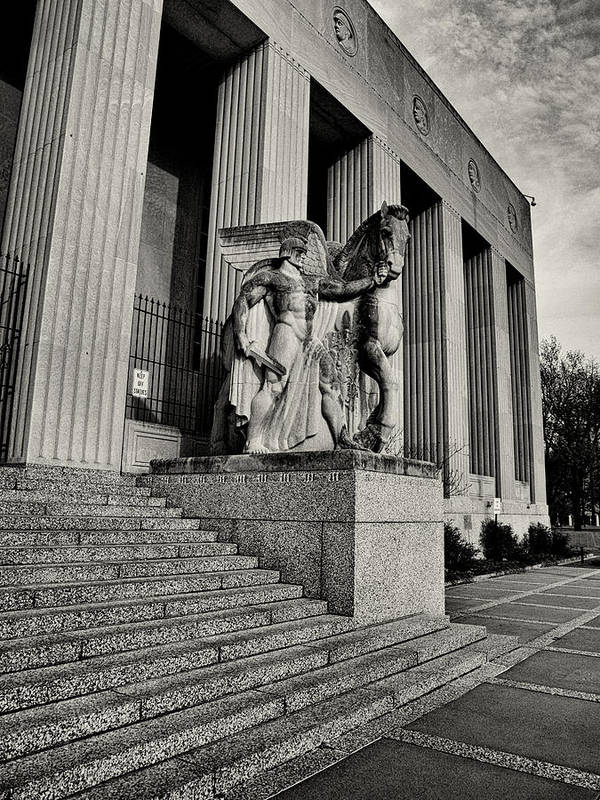 Statue Poster featuring the photograph Saint Louis Soldiers Memorial Exterior Black And White by Joshua House