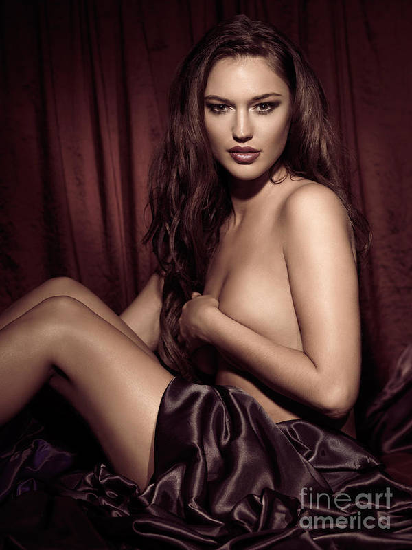 Glamour Poster featuring the photograph Beautiful Young Woman Sitting Naked In Bed by Oleksiy Maksymenko