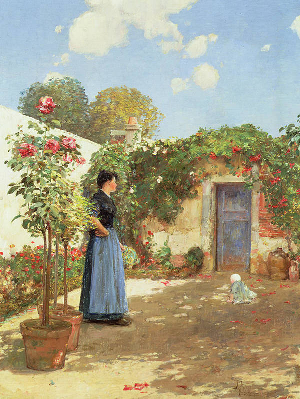 A Sunny Morning Poster featuring the painting A Sunny Morning by Childe Hassam