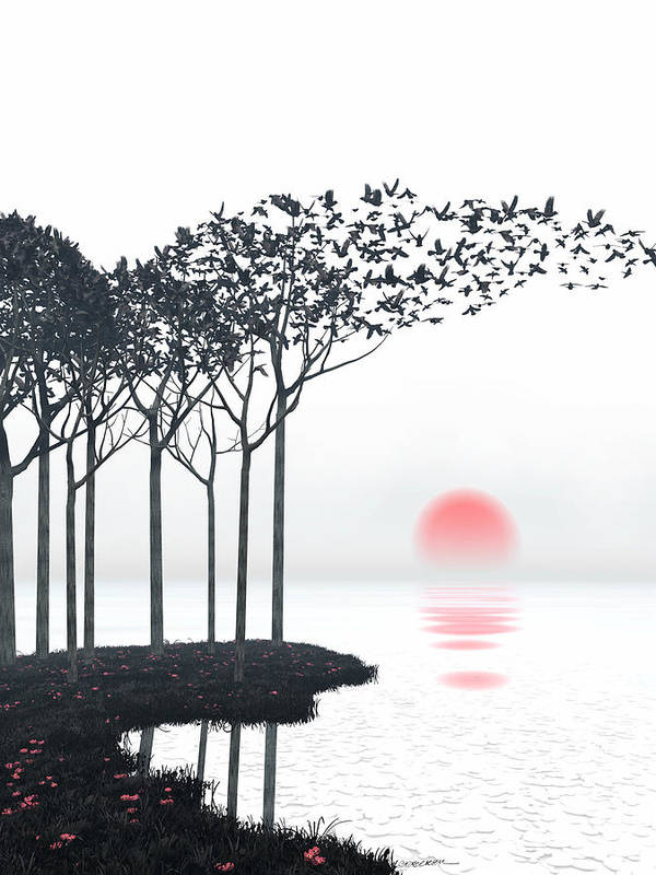 Landscape Poster featuring the digital art Aki by Cynthia Decker
