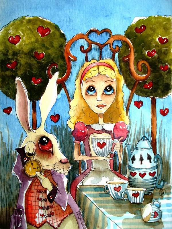Alice Wonderland White Rabbit Blue Sky Cute Art Heart Tree Tea Teapot Teacup Table Cloth Pocketwatch Clock Poster featuring the painting Alice And The Rabbit Having Tea... by Lucia Stewart