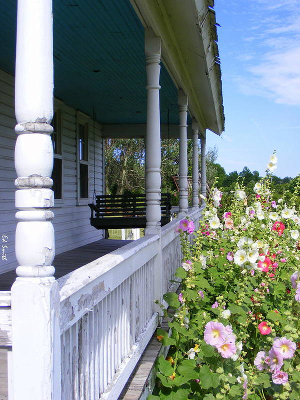 Amish Porch Poster featuring the photograph Amish Porch by Ed Smith