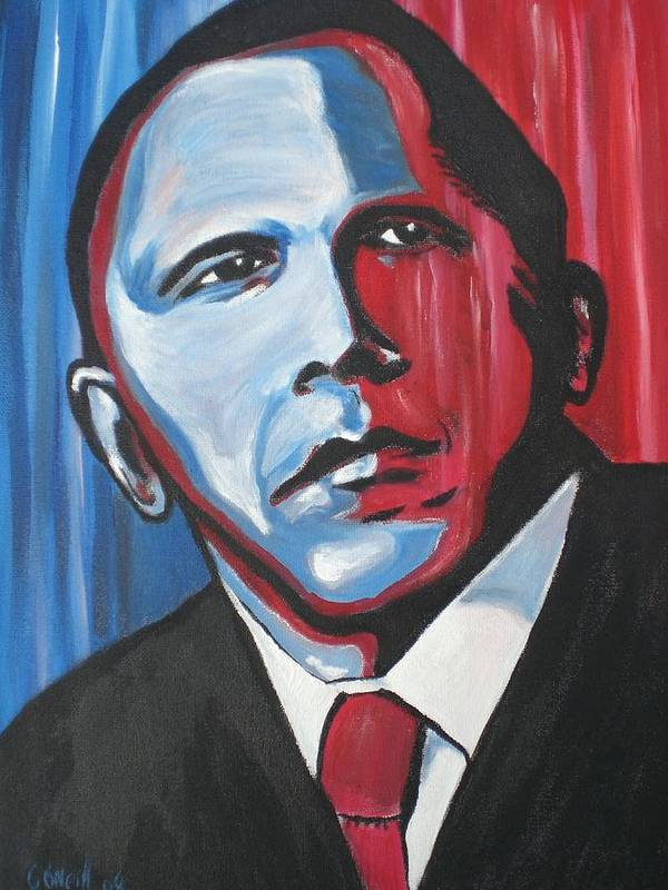 Obama Poster featuring the painting Barack by Colin O neill