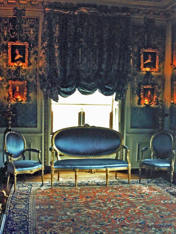 Castle Poster featuring the digital art Blue Drawing Room by DigiArt Diaries by Vicky B Fuller