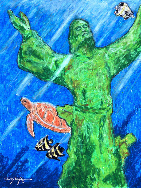 Christ Of The Deep Poster featuring the mixed media Christ Of The Deep by William Depaula