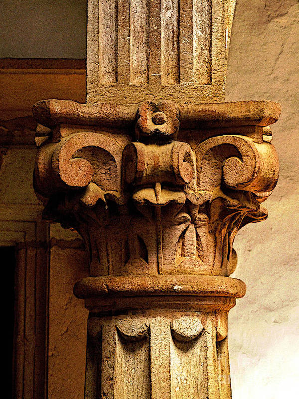 Patzcuaro Poster featuring the photograph Column's Capital by Mexicolors Art Photography