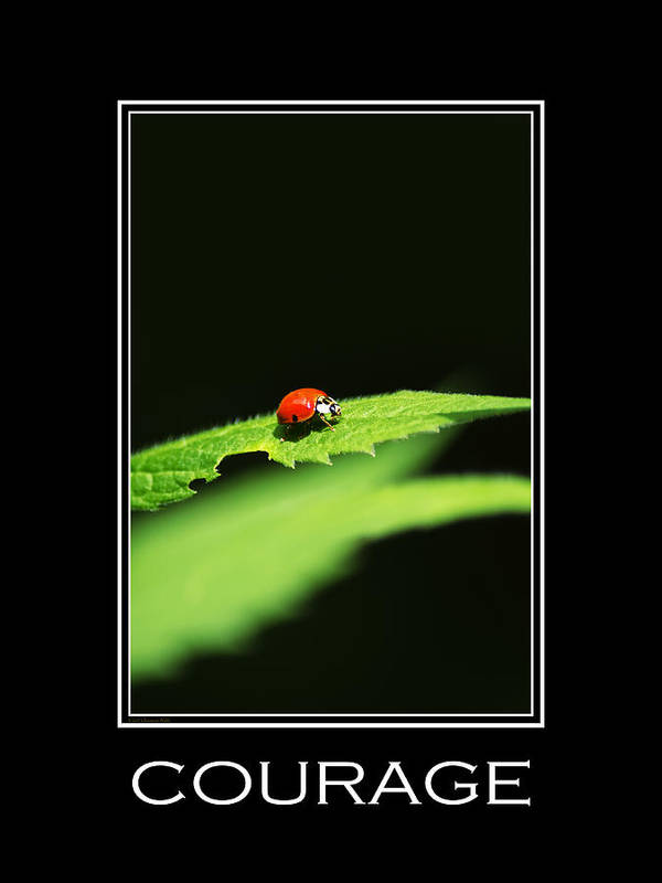 Courage Poster featuring the mixed media Courage Inspirational Motivational Poster Art by Christina Rollo