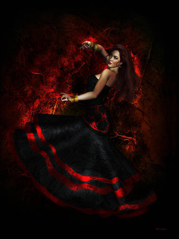 Flamenco Poster featuring the digital art Flamenco by Shanina Conway