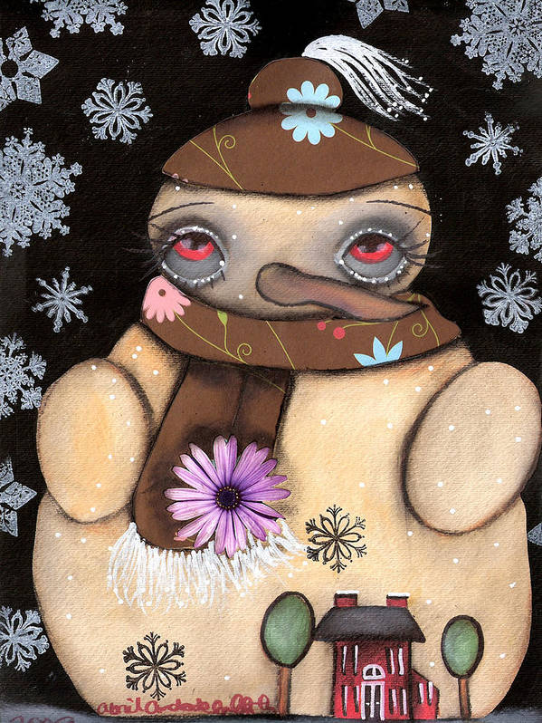 Snow Man Poster featuring the painting It's Snowing by Abril Andrade Griffith