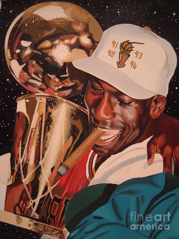 Michael Jordan Poster featuring the painting Jordan by Brandon Ramquist
