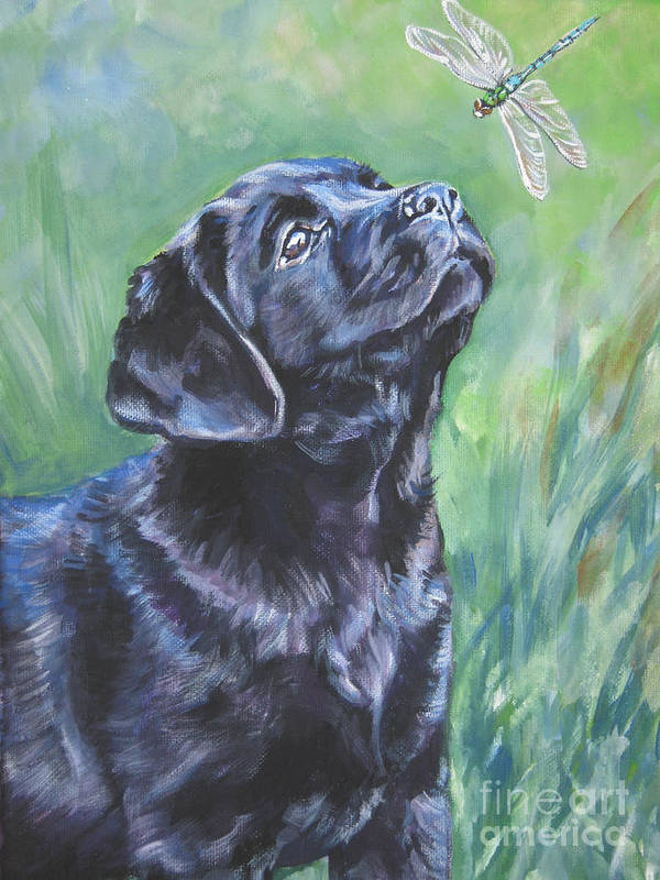 Dog Poster featuring the painting Labrador Retriever Pup And Dragonfly by Lee Ann Shepard