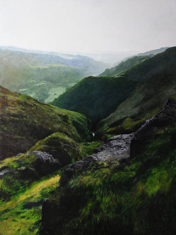 Landscape Poster featuring the painting Landscape With Aspect Towards The North Wales Coast. by Harry Robertson