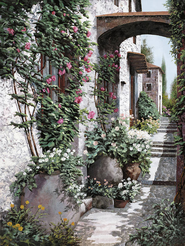 Arch Poster featuring the painting Le Rose Rampicanti by Guido Borelli