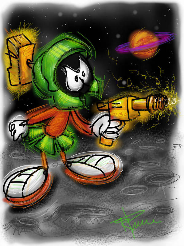 Marvin Poster featuring the digital art Marvin The Martian by Russell Pierce