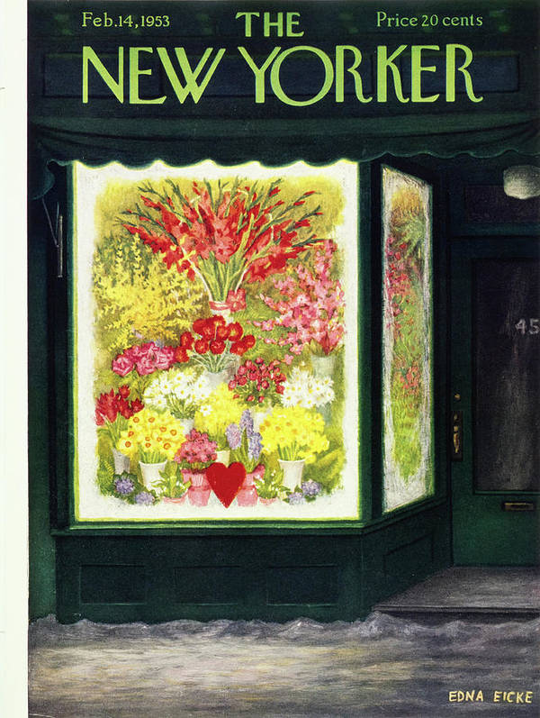 Flowers Poster featuring the painting New Yorker February 14 1953 by Edna Eicke