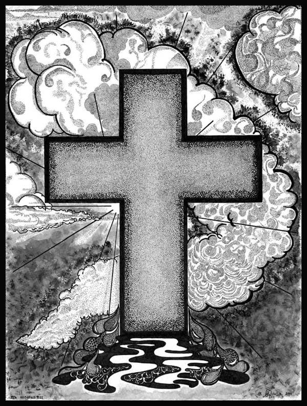 Christian Poster featuring the drawing Nothing But The Blood by Glenn McCarthy Art and Photography