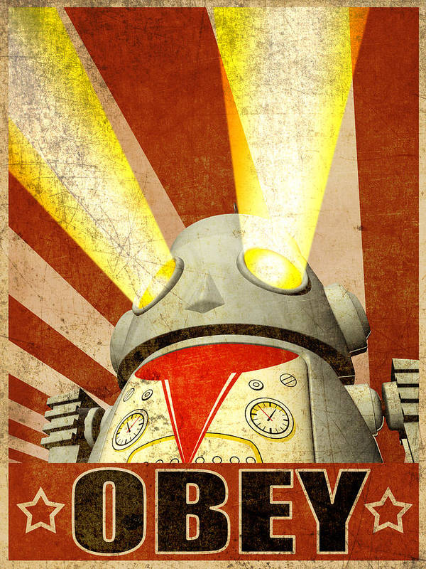 Obey The Machine Poster featuring the digital art Obey Version 2 by Michael Knight