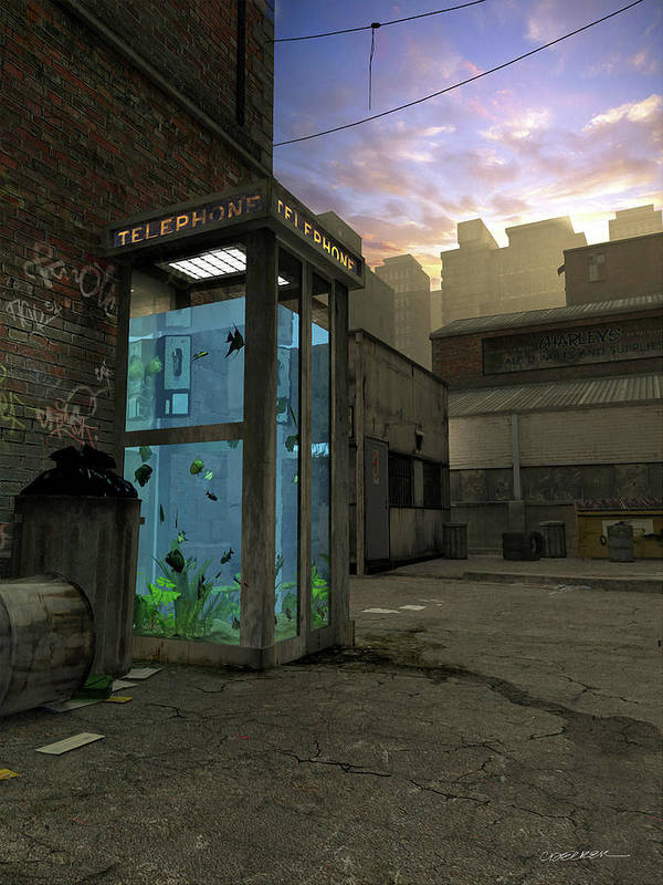 Telephone Poster featuring the digital art Phone Booth by Cynthia Decker