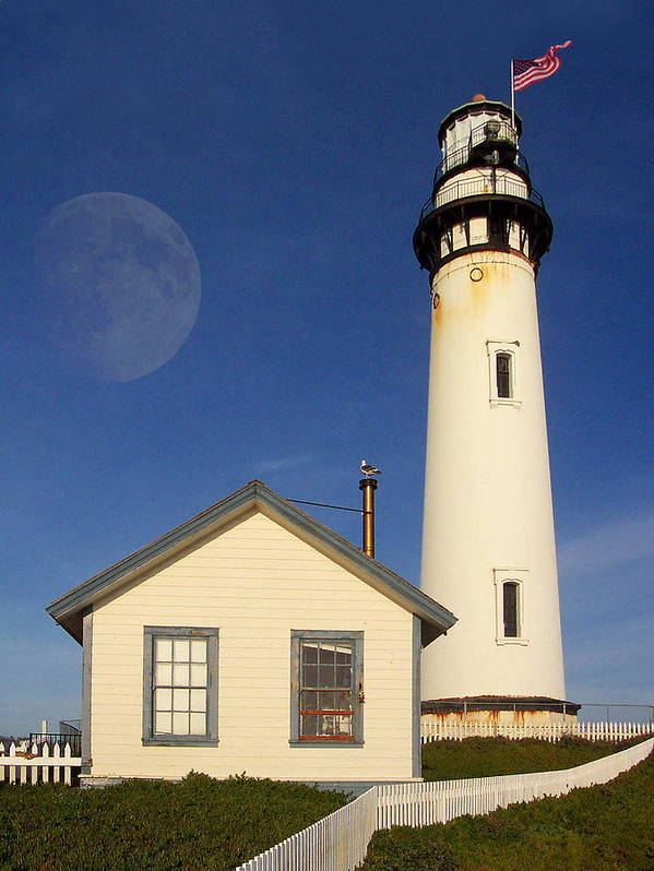 Lighthouse Poster featuring the photograph Pigeon Point Lighthouse by Wingsdomain Art and Photography