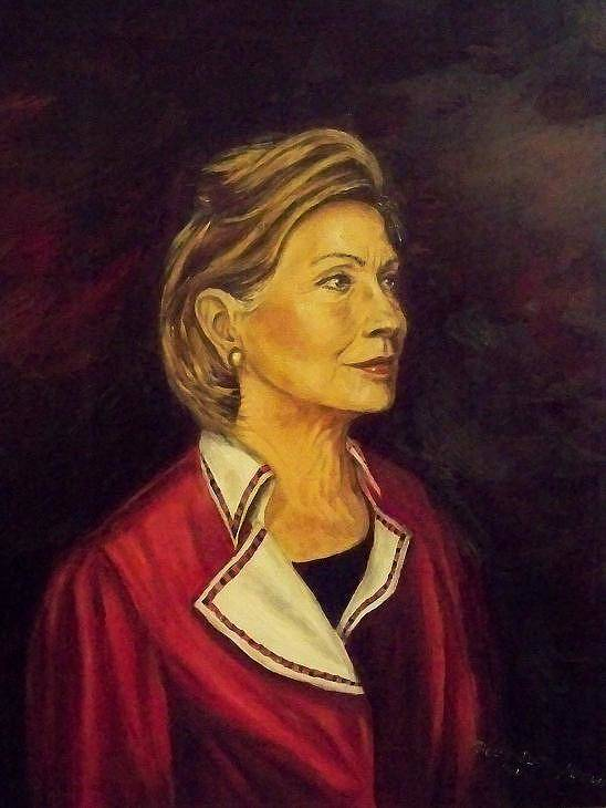 Sec.of State Poster featuring the painting Portrait Of Hillary Clinton by Ricardo Santos-alfonso