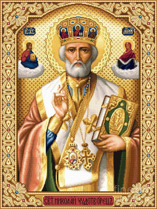 Saint Nicholas Orthodox Icon Needlework Cross Stitch Gobelin Poster featuring the tapestry - textile Saint Nicholas by Stoyanka Ivanova