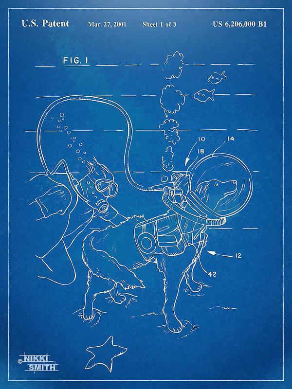 Scuba Poster featuring the digital art Scuba Doggie Patent Artwork 1893 by Nikki Marie Smith