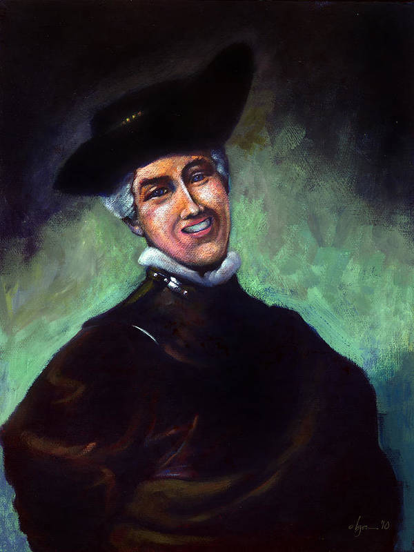 Rembrandt Poster featuring the painting Self Portrait A La Rembrandt by Angela Treat Lyon