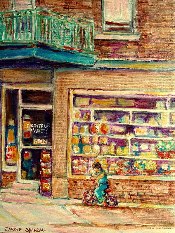 Montreal Poster featuring the painting St Viateur Street Montreal by Carole Spandau