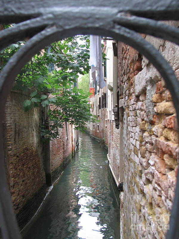 Angelica Dichiara Paintings Poster featuring the photograph Venice Canal Through Gate by Italian Art