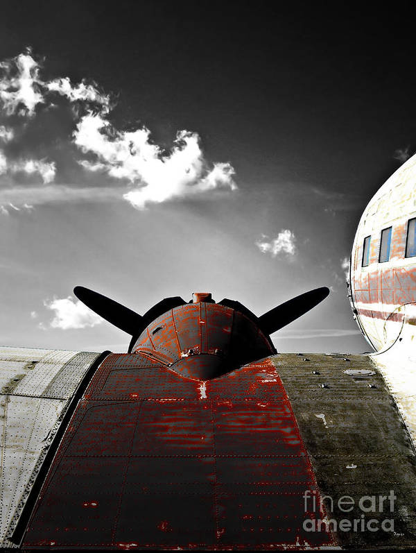 Vintage Airplane Poster featuring the photograph Vintage Dc-3 Aircraft by Steven Digman