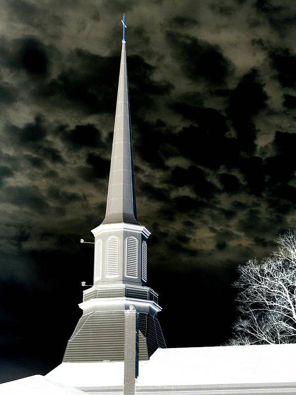 Church Poster featuring the photograph White Cross Dark Skies by Joshua House