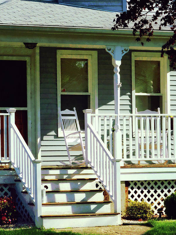 Porch Poster featuring the photograph White Rocking Chairs by Susan Savad