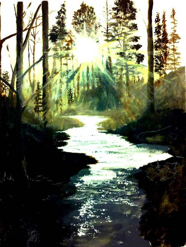 Pictures Canvas Poster featuring the painting Winter Over Almond Creek by Travis Ragan