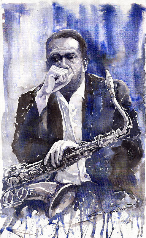 Jazz Poster featuring the painting Jazz Saxophonist John Coltrane Blue by Yuriy Shevchuk